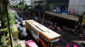Traffic Jam on Sukhumvit Road because of Political Rally Stock Image