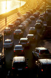 Traffic Jam in sunset beams Royalty Free Stock Images