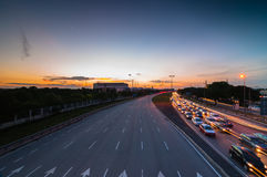 Traffic jam during sunset. This image tekn at shah alam selangor, malaysia royalty free stock photography