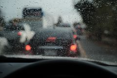 Traffic jam, Thailand only. Rain in the morning, Rush hour,Traffic jam Stock Photo