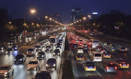 Traffic jam at third Ring Road at night, Beijing, China. BEIJING-SEPT. 16. Traffic jam at 3th ring road. Beijing has been notorious for serious traffic Stock Photos