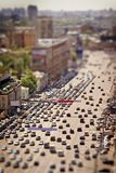 Traffic jam with tilt-shift effect Royalty Free Stock Photo