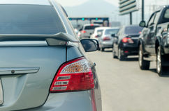 Traffic jam before toll gate Stock Photography