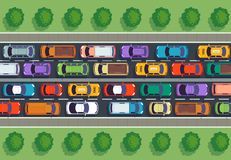 Traffic jam top view. Many cars on highway, different vehicles from above. Auto vector infographic stock illustration
