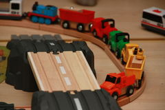 Traffic jam of toy cars on building site Royalty Free Stock Photography