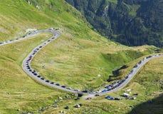Traffic jam on Transfagarasan mountain road Stock Image