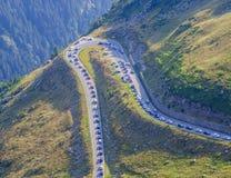 Traffic jam on Transfagarasan mountain road. Romania Royalty Free Stock Photo