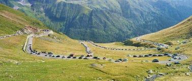 Traffic jam on Transfagarasan mountain road Stock Photos