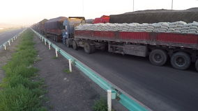 Traffic jam of trucks on the border countries stock footage