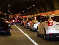 Traffic jam tunnel. Urban transportation scene: traffic jam in a tunnel in Moscow (Russia Stock Photography