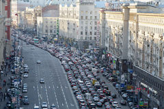 Traffic jam on Tverskaya st. Royalty Free Stock Photo
