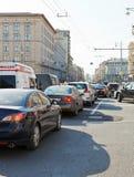 Traffic jam on Tverskaya street in Moscow, Russia Royalty Free Stock Image