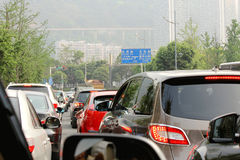 Traffic Jam. A typical scene during rush hour. A traffic jam with rows of cars waiting to get off the next exit royalty free stock photos