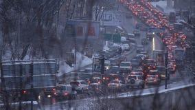 Traffic jam. UKRAINE, KIEV, DECEMBER 25, 2010: Traffic jam. Traffic congestion in Kiev, Ukraine, December, 25, 2010 stock footage