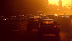 Traffic jam. Urban traffic jam at the evening, sunlight stock images