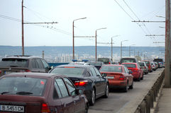 Traffic jam Varna bridge Bulgaria Royalty Free Stock Photography