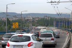 Heavy traffic Varna bridge Bulgaria Royalty Free Stock Images