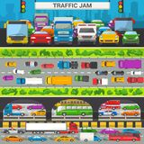 Traffic jam vector transport car vehicle and bus in the rush hour on highway road vector illustration set of. Transportation congestion of automobiles minicars Stock Photography