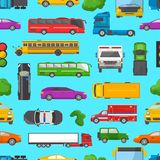 Traffic jam vector transport car vehicle and bus in the rush hour on highway road vector illustration set of Royalty Free Stock Image