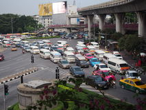 Traffic jam at the Victory monument on October 24, 2014 in Bangkok, Thailand. Stock Photos