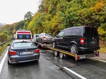 Traffic jam on the way to Fruska Gora, near Novi Sad, Serbia.