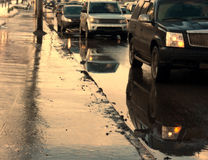 Traffic jam wet winter Royalty Free Stock Images