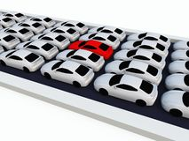 Traffic Jam White Cars. Rows of 3D white cars in a traffic jam during rush hour. One red car in the middle stands out royalty free illustration