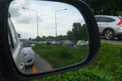 Traffic jam in wing mirror Stock Photography