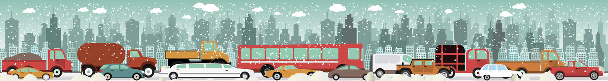 Traffic jam - Winter Royalty Free Stock Images