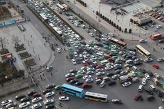 Traffic jam in Xi an, China Royalty Free Stock Image