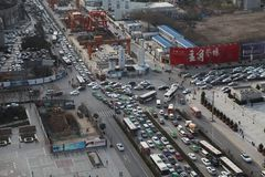 Traffic jam in Xi an, China Royalty Free Stock Photography
