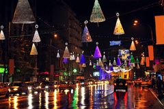 Christmas city lights in Bucharest royalty free stock images