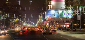 Christmas city lights in Bucharest stock images