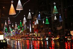 Christmas city lights in Bucharest royalty free stock image