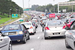 Traffic Jammed at Malaysia. Malaysia, 28 July 2011 : The Jammed Way to Bukit Jalil Stadium by Supporters Car to Support Malaysia Football Team For Qualifying Stock Photo