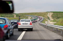 Traffic jammed. On the A2- Sun's Highway, Romania Stock Photo