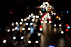 Traffic jams in Bangkok nightlife and blur Royalty Free Stock Image