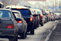 Traffic jams in the city, road, rush hour. Blur Stock Photography