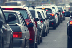 Traffic jams in the city, road, rush hour Stock Images