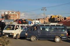 Traffic jams on the streets of La Paz Royalty Free Stock Photos
