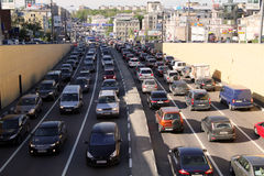 Traffic jams on Taganskaya in Moscow Royalty Free Stock Photo