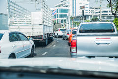 Traffic jams when viewed from inside the car Stock Photos