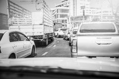 Traffic jams when viewed from inside the car Royalty Free Stock Image
