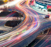 Traffic on junction. In city Royalty Free Stock Photo