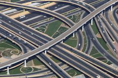 Traffic junction with cars. From above. New traffic junction in Dubai Royalty Free Stock Photography