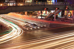 Traffic junctions at night. Light traces on traffic junctions at night Royalty Free Stock Images