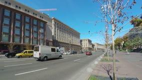 Traffic in Khreshchatyk Avenue in Kiev stock video