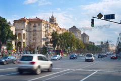 Traffic in Kiev city center Royalty Free Stock Images