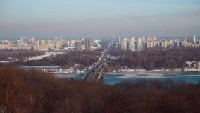 Traffic in Kiev City. Cityscape traffic on the bridge stock footage