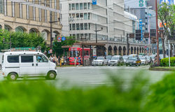 Traffic in Kumamoto city. Photo was taken in Kumamoto, Japan Royalty Free Stock Photography
